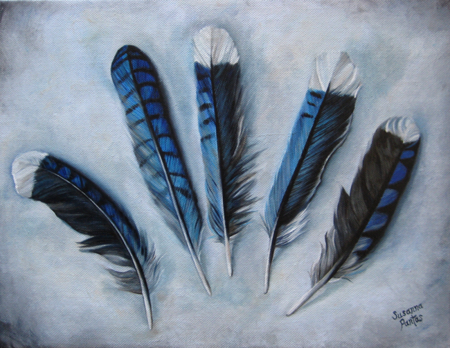 Contemplation: Majestic Blue Jays by  Susanna Pantas, oil on canvas