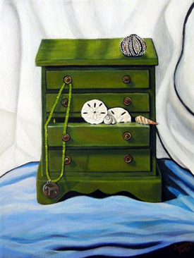 Green Chest with Anemone by Susanna Pantas